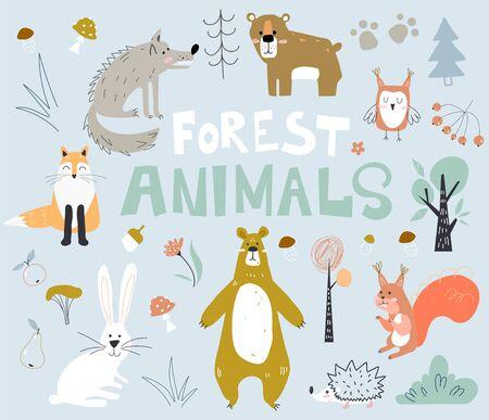 Woodland forest animals cute bear, fox, hedgehogs in the wood. Creative kids scandinavian style.