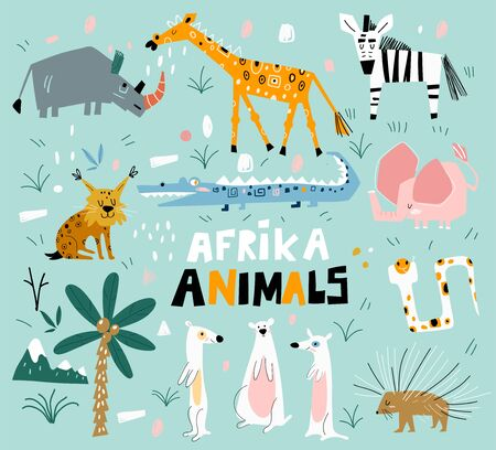 Set of african animals in a flat style. Vector set of children s drawings. Trendy style. Doodle style.
