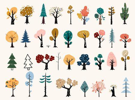 Set of trees in a flat style. Tree icons set in a modern flat style. Pine, spruce, oak, birch, trunk, aspen, alder, poplar, chestnut, apple tree.