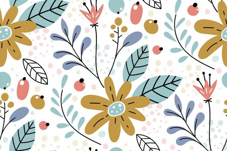 Seamless pattern with creative decorative flowers in scandinavian style. Creative template for print, postcards, poster, fabric, nursery.