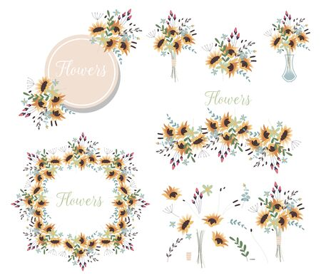 Bouquet of flowers in a vase. Set of floral wreaths and various design elements for greeting cards. Yellow sunflowers. Spring ornament concept. Ilustracja