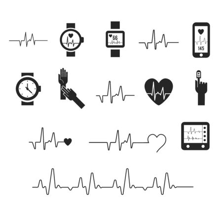 Electrocardiogram, ecg or ekg - medical vector icons. Fitness and Gym line icons. Cardiogram on white background. Pulse oximeter icon. heart icon with sign heartbeat. Vector illustration. Heart sign Ilustração