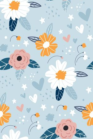 Seamless pattern with creative decorative flowers in scandinavian style. Great for fabric, textile.Printing with in hand drawn style light blue background. Seamless vector texture. For fashion prints. Ilustracja