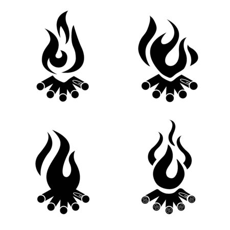 Bonfire icon. Campfire logo. Wood campfire. Outdoor bonfire, fire burning wooden.