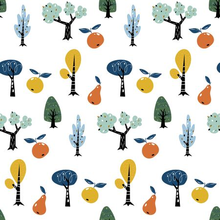 Seamless pattern with colorful autumn forest trees. Creative kids forest texture for fabric, wrapping, textile, wallpaper, apparel. Fruit trees with apples and pears.