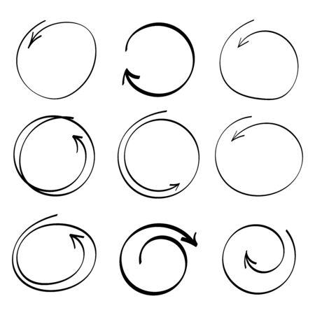 Hand drawn circle line sketch set. Vector circular scribble doodle round circles for message note mark design element.doodles. Ilustracja