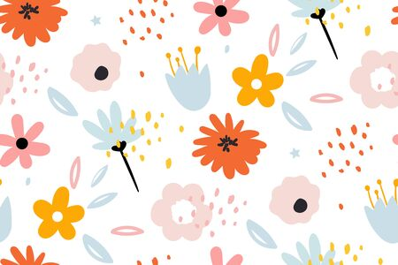 Seamless pattern with creative decorative flowers in scandinavian style. Using for print on the wall, pillows, decoration kids interior, baby wear and shirts, greeting card, vector and other.