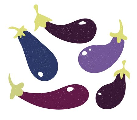 Set of fillet eggplant in flat style and isolated on white background.