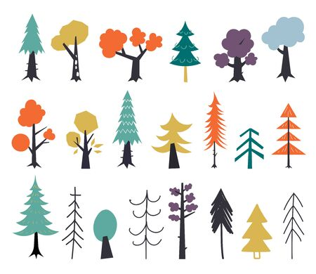 Set of autumn trees red, yellow, green. Hand drawn in a flat style. Autumn graphic design elements. Vector illustration isolated on a white background.