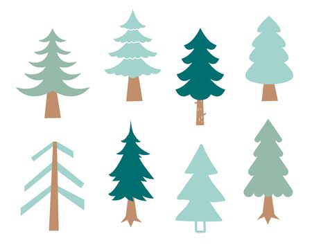 Collection of Christmas trees, modern flat design. Pine tree, park vector green icons set. Silhouette on the white background.