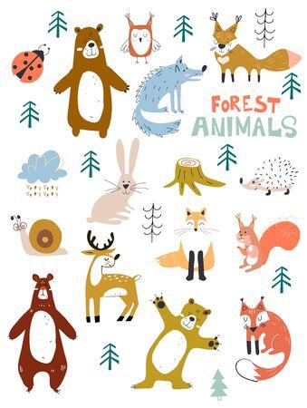 Carattere di animali del bosco vettoriale, ottimo per album di ritagli, animali carini e dolci. Elementi di disegno floreale della foresta di caduta. Vettoriali