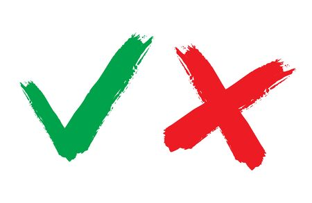 Tick and cross signs. Green checkmark OK and red X icons, isolated on white background. Simple marks graphic design.