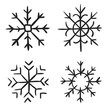 Snowflake doodle graphic hand-drawn set. Collection of snowflakes for christmas winter design. snowflakes doodle icon