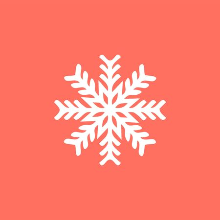 White snowflake on a red background. snowflake icon. sign design. Christmas and winter theme. Simple flat illustration on white background. Ilustracja