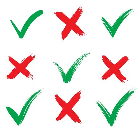 Check marks icons. accept and reject. Isolated on white background. Vector Illustration. Hand drawn. Tick and cross brush signs.