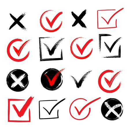 Tick and cross brush signs. Green checkmark OK and red X icons, isolated on white background. Simple marks graphic design. Symbols YES and NO button for vote, decision, web. Ilustracja