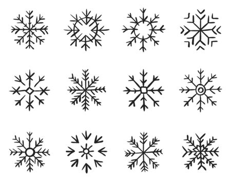 Set of hand drawn snowflakes. New year and winter doodle symbol for print, web, design. Ilustracja