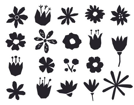 Silhouettes of flowers in a geometric style. Black objects isolated on white background.