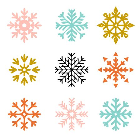 Set of vector snowflakes. New year and winter symbol for print, web, design, decoration.