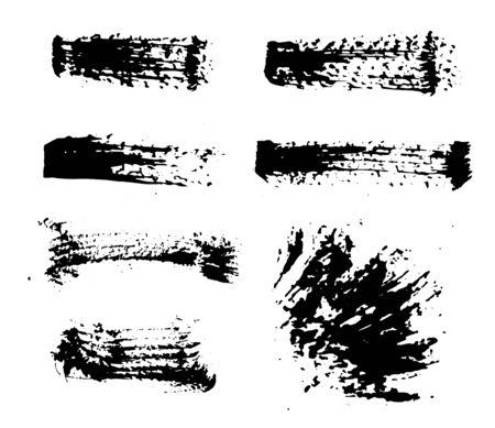Black ink spots set on white background. Ink illustration. Set of hand drawn brushes and design elements. black paint, ink artistic creative shapes.