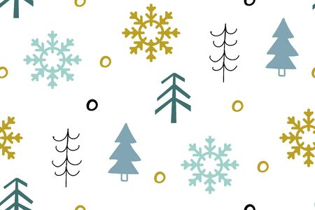 Seamless pattern with Christmas trees and snowflakes on a white background. Scandinavian style.