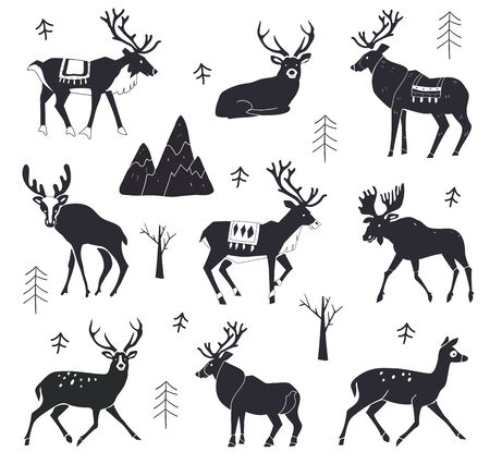 Set of reindeer silhouettes. illustration isolated on a white background. Forest animals. Christmas animals. illustration of elk. Stock Illustratie