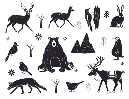Vector set of northern animals silhouettes. Set of winter animals. Merry Christmas and New year. Design element poster, banner, invitation, congratulations, postcards.
