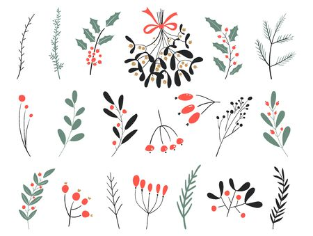Hand drawn vector winter elements. Christmas floral. Christmas branches. Perfect for invitations, greeting cards, posters, prints. Winter branches and leaves. Design objects.
