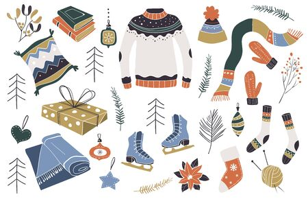 Christmas design elements. Scandinavian style. Christmas decoration. New year icon set. Vector illustration. This illustration can be used as a greeting card, poster or print.