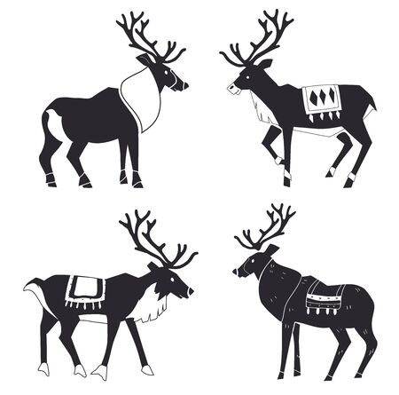 Reindeer Silhouettes. Scandinavian style. Merry Christmas and New year. Design element poster, banner, invitation, congratulations, postcards. Stock Illustratie