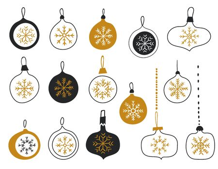 Merry Christmas balls with snowflakes. Christmas tree decorations isolated on white background vector illustration. Set of glass Christmas toys. Scandinavian style. Hand drawn design elements.
