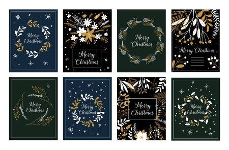 Prettige kerstdagen en gelukkig Nieuwjaar groeten schattige tags of kaarten, emblemen, etiketten. Vectorkrabbelillustraties. Sjabloonset voor scrapbooking, gefeliciteerd, uitnodigingen. Kerstposters instellen.