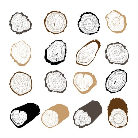 Tree rings. Set of cross section of the tree. Line art. Set of wood logs for forestry and lumber industry. Illustration of trunks, stump and planks.