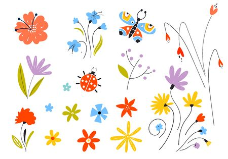 Set of vector multicolored spring flowers. Decorative easter elements in a flat style. Leaves of branches and plants. Butterflies, floral elements.