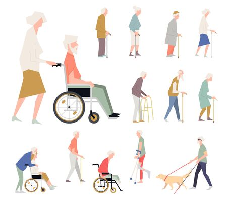 People are disabled on the street. Pensioners on a wheelchair. A person with limited abilities. Characters in a flat style standing.
