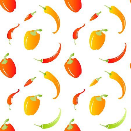 Chili peppers seamless pattern. Hot food. Chili pepper. Illustration