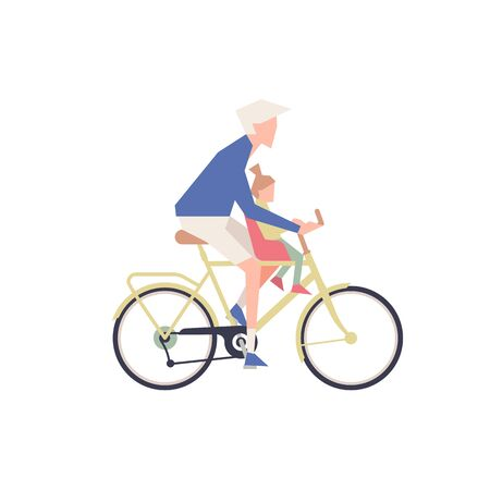 The person with the child is riding a bicycle.