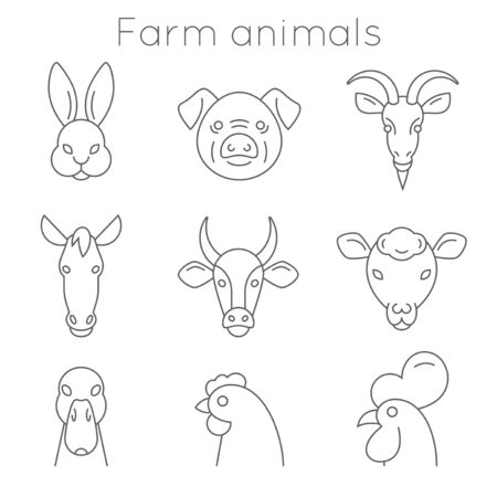 Farm animals collection of symbols in simple black lines. Stock Illustratie