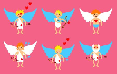 Cupid mascot in various positions. Illustration