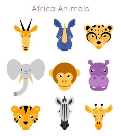 Vector illustration of animal faces. Ilustração