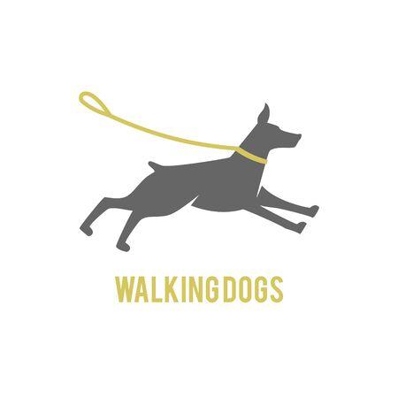 Logo design for dog walking, training or dog related business. Isolated on white background.