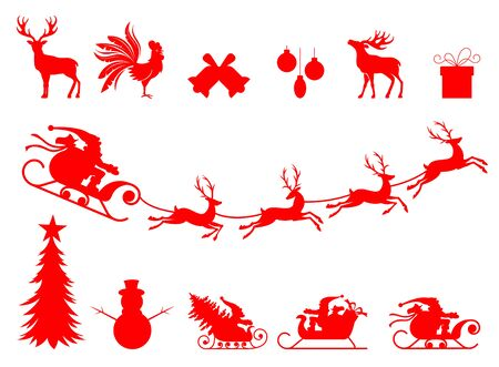 Reindeer and Santa Claus. Collection of a christmas silhouettes. The best element for your design. Vector isolated on white background.