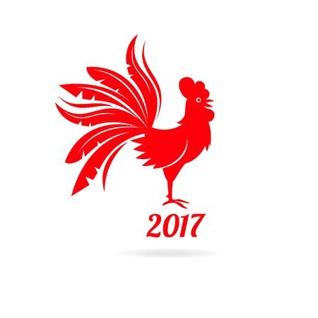 Vector illustration of rooster, symbol of 2017 on the Chinese calendar. Silhouette of red cock. Stock Illustratie