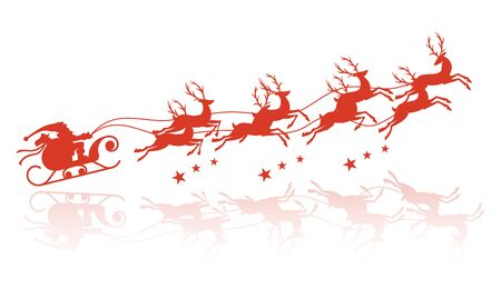 vector illustration of Santa Claus flying with reindeer.