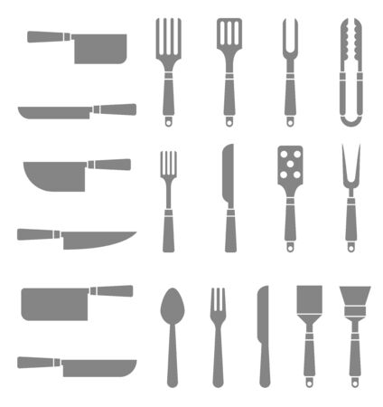 Set of silhouettes cutlery.
