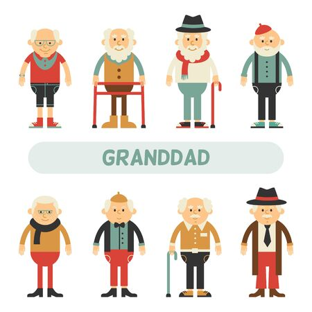 Vector set of characters in a flat style. Older people in different costumes. Grandpa in cartoon flat style.