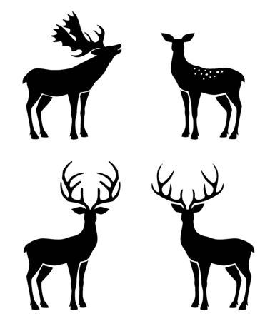 Deer collection - vector silhouette. Christmas set with reindeer antlers.