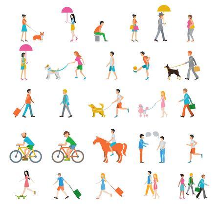 People on the street. Neighbors. Flat icons. Vecteurs