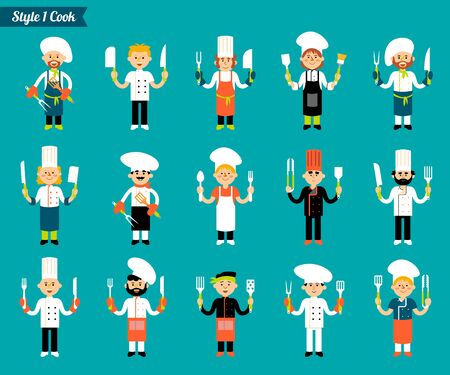 Vector set of professional kitchen staff, cook with a knife and cutlery in hand. Catering cuisine staff characters. In the flat style isolated on a blue background. Illustration