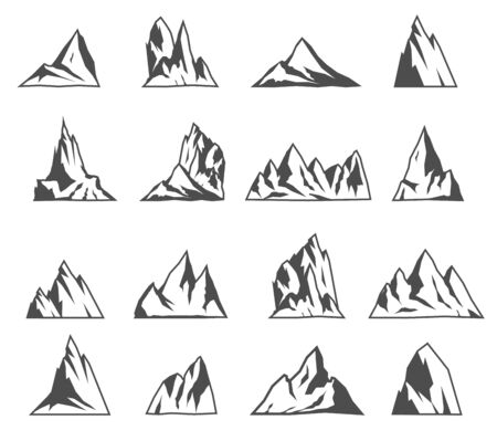 Mountain vector icons set. Tourism, hiking and camping icons. Vintage travel labels and design elements.